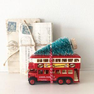 Gorgeous little vintage Mars bus with bottle brush tree
