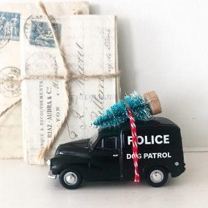 Lovely little dog patrol van with bottle brush tree